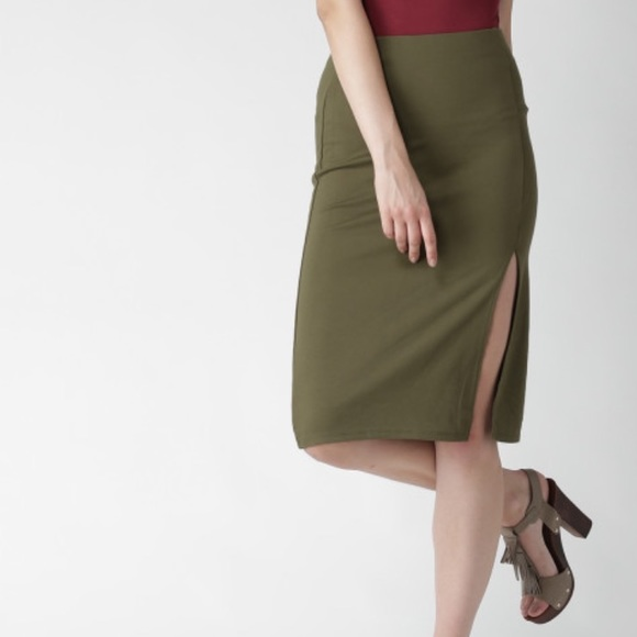 5c7fda2b79 Forever 21 Skirts | Olive Green Pencil Skirt | Poshmark